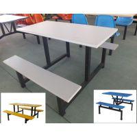 供应玻璃钢食堂餐桌椅 学校食堂连体4人位食堂餐桌椅多少钱一张