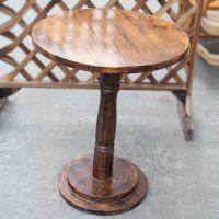 海德利中餐厅实木桌定做 铁艺底座圆形餐桌 4人位中式茶餐厅专用桌