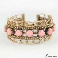 B1246串链 复古饰品 时尚流行手镯 锁链边镶珠手饰