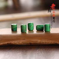 美国进口纯天然绿松石金线松鼓珠DIY散珠配件 藏式松石桶珠配饰