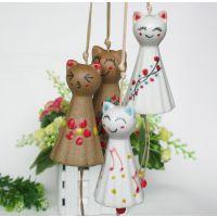 调皮小猫咪风铃车挂  精品陶瓷饰品 一见钟情风铃挂件 现货促销