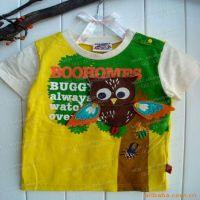 日本外贸原单 可爱的男童立体猫头鹰T恤 儿童短袖 童装批发