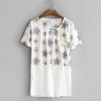 外贸原单15夏新款女装日系全棉刺绣短袖宽松圆领衬衫T恤上衣