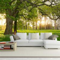 景灿定制大型3D无缝自然风景绿色森林草坪大树空间延伸壁纸 定制无纺布壁画 客厅沙发背景墙纸