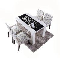 时尚餐桌现代小户型板式家用钢化玻璃餐厅饭桌台餐桌时尚镂空花