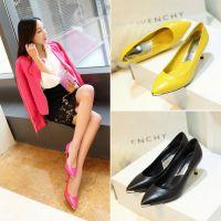 外贸春款简约尖头细高跟鞋软面羊皮职业工作女鞋玫红黄色单鞋
