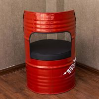 海德利厂家定制 美式复古酒吧餐椅 金属铁艺油桶造型餐椅 批发