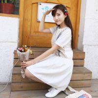2015日系女夏季T恤裙子碎花打底裙收腰短袖短裙棉麻连衣裙