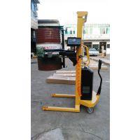 厂家供应半电动油桶升高车 带电子秤电动油桶倒料车