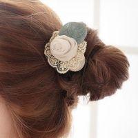 SNN-1319 韩版头饰蕾丝绢纱叶子玫瑰花朵发圈发绳头花