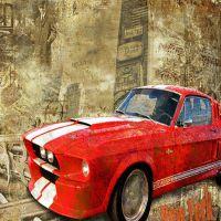 壁纸酒吧酒店咖啡包房 欧式复古老爷车/福特野马/墙纸原创设计