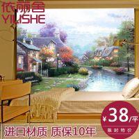 大型壁画墙纸壁纸客厅沙发电视背景墙无缝壁画无纺布美式花油画