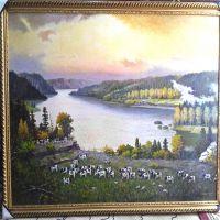 原创进口手绘朝鲜写实风景油画 批发手绘风景油画画无框风景油画