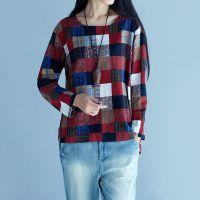 外贸2016秋冬新款复古彩色方格子印花棉麻宽松长袖t恤外穿打底衫