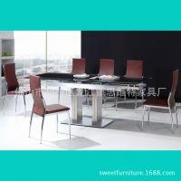 现代家用餐桌 不锈钢家具餐桌 钢化玻璃面伸缩餐桌 酒店餐厅餐桌