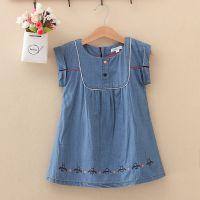 工厂直销外贸原单尾货批发夏季女童装纯色短袖牛仔连衣裙P11