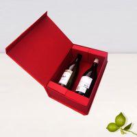 现货供应高档纸盒贵族双支红酒盒烫金双支红酒盒节日喜庆翻盖礼盒