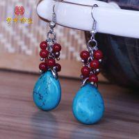 正品藏族饰品 天然绿松石珊瑚珠水滴形状耳环 特价批发