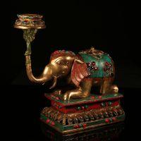 藏传佛教用品批发 尼泊尔手工制作 镶绿松石纯铜做旧大象烛台摆件
