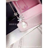 925纯银时尚精美微镶钻石雪花镶嵌珍珠女士项链挂饰高档首饰代发