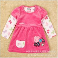 2014年秋冬新款中小童假二件连衣裙 佩佩猪儿童长袖纯棉裙子