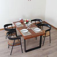 供应美式铁艺复古餐桌餐厅桌椅实木餐桌长餐桌椅子组装简约餐桌椅组合