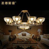 欧式客厅灯全铜 大气吸顶灯 别墅书房 巴洛克全铜吊灯 古典