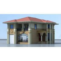 法式大气带车库豪华二层自建中空房子施工图13x17.1米