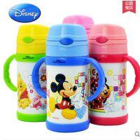 正品迪士尼不锈钢带手柄水杯防漏儿童保温杯 宝宝水杯吸管
