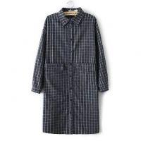 2015春装新款韩版百搭时尚复古长袖中长款格子衬衫打底衫女上衣
