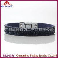 韩版外贸饰品 排钻真皮手链 韩国手链 钻石手链 易贝 速卖通代发