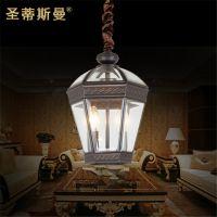户外吊灯黑色款 欧式室外装饰照明 庭院全铜吊灯 防雨水阳台吊灯