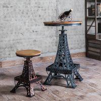 新品推荐 美式乡村实木餐桌 创意铁塔做旧桌 海德利咖啡厅/酒店桌