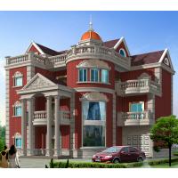 四户联排经典坡屋顶自建房屋设计图15.5x13.4米