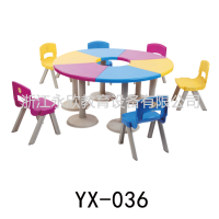 XS-036学仕牌塑钢课桌椅 六人圆桌椅 彩色圆桌 配八字脚背靠椅 幼儿园课桌椅