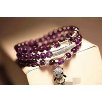 多层天然紫水晶   925银熊猫吊坠女款手链   招代理一件代发