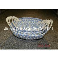 博白编织工艺品 手工编织彩色纸绳篮 收纳篮子批发