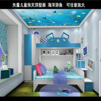 3D立体海底世界鲸鱼墙纸 KTV酒店大型壁画 男孩儿童房背景墙画