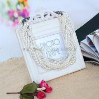 速卖通热卖欧美大牌锁骨链复古夸张优雅多层白色珍珠编织麻花项链