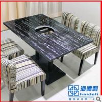 重庆火锅桌定做 地中海优质大理石燃气火锅桌 休闲火锅餐厅桌子