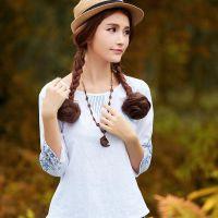 棉麻中袖衬衫女装白色衬衣文艺春季打底衫女装上衣