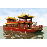 16米大型玻璃钢画舫 观光木船 电动餐饮画舫木船 观光赏景旅游船
