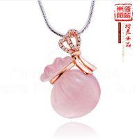 东海天然5A级芙蓉石粉晶钱袋吊坠镶玫瑰金 水晶饰品挂件吊坠
