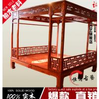 古典南榆木老料架子床双人雕花床中式榫卯结构拔步床原厂直销