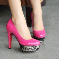 超高细跟蕾丝防水台镜面漆皮女鞋韩版时尚夜店女王高跟鞋4961708