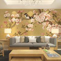 新品中式墙纸 客厅/电视/沙发/卧室背景壁纸墙布 花鸟壁画壁布