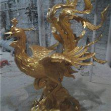 婚庆凤凰道具雕塑玻璃钢鸳鸯贴金树脂摆件楼盘景观仿铜飞鸟装饰凤凰古城