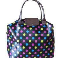防水折叠式牛津布购物袋 折叠收纳环保袋 女士皮革袋 彩色购物包