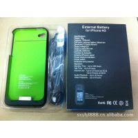 新款批发苹果手机iphone4背夹电池 2000mAh大容量荧光绿移动电源