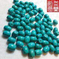厂家直销 DIY手工配件 藏式绿松石佛珠手链散珠子 松石桶珠特价